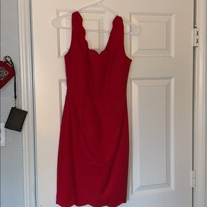 SHORT RED SCALLOPED DRESS